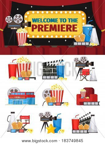 Cinematography elements concept with cinema building equipment tickets furniture and snacks isolated vector illustration