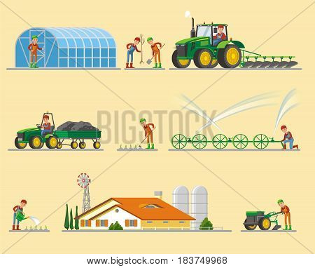 Farming elements collection with greenhouse tree planting harvesting irrigation system barn tillage products watering growing isolated vector illustration