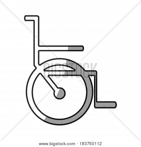 grayscale silhouette with icon of wheelchair vector illustration