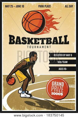 Colored vintage basketball championship poster with player dribbling on court and flaming ball vector illustration
