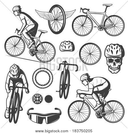 Vintage cycling elements collection with cyclists riding bicycles mask skull in helmet chain sprockets isolated vector illustration