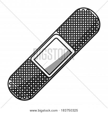 grayscale silhouette with adhesive band health element vector illustration