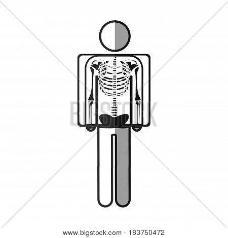 grayscale silhouette with pictogram patient and radiography vector illustration