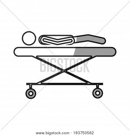 grayscale silhouette with pictogram lay down patient in stretcher clinical vector illustration