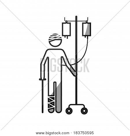 grayscale silhouette with pictogram bandage patient hospitalized vector illustration