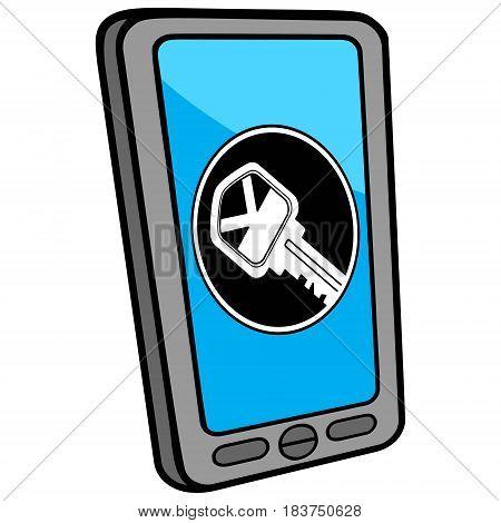 A vector illustration of a Smart Phone Locksmith App.