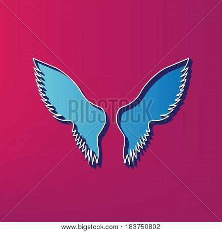 Wings sign illustration. Vector. Blue 3d printed icon on magenta background.