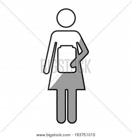 grayscale silhouette with pictogram female with remedy bottle vector illustration