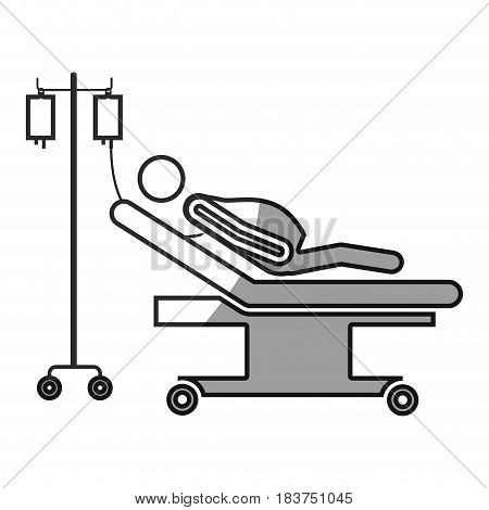 grayscale silhouette with pregnant woman in stretcher clinical vector illustration
