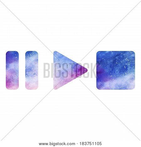 Media music video play pause stop button symbol space galaxy isolated