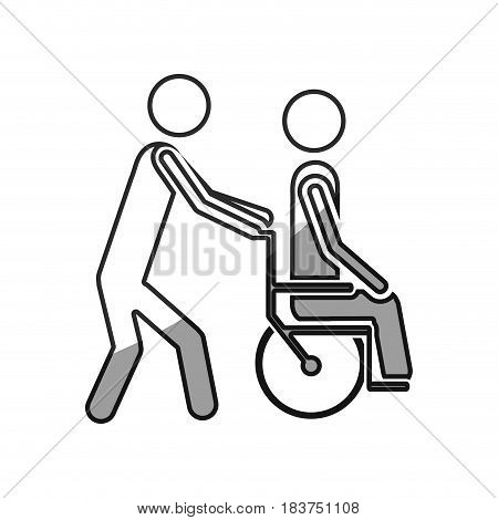 grayscale silhouette with person helping another push a wheelchair vector illustration