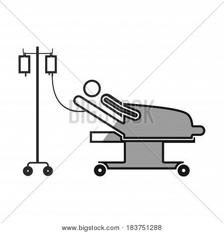 grayscale silhouette with pictogram person hospitalized in clinical bed vector illustration