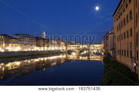 travel amazing Italy series - Ponte Vecchio and River Arno at Night, Florence, Tuscany