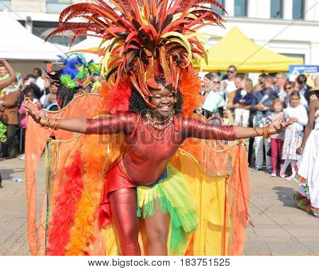 LE MANS FRANCE - APRIL 22 2017: Festival Evropa jazz A woman dancing in Caribbean costumes
