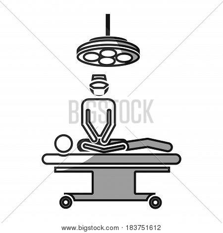 grayscale silhouette with pictogram patient in surgery icon flat vector illustration