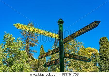 Direction Sign In Melbourne Royal Botanic Gardens