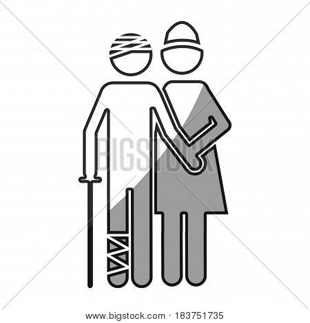 grayscale silhouette with pictogram nurse with bandaged patient vector illustration