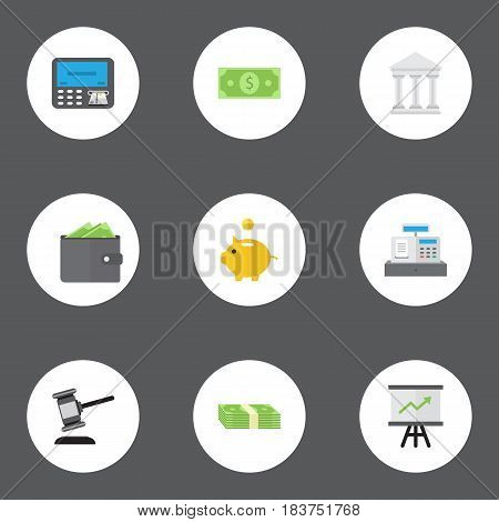 Flat Bank, Till, Cash Stack And Other Vector Elements. Set Of Business Flat Symbols Also Includes Wallet, Salary, Dollar Objects.