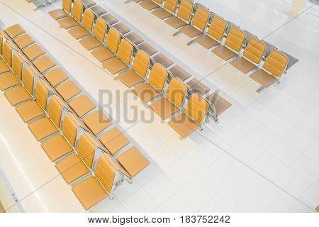Modern interior of airport waiting hall