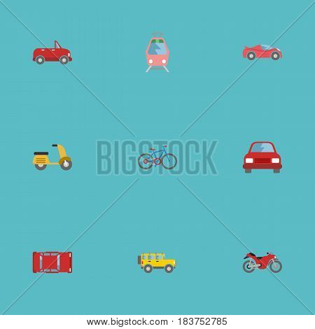 Flat Automobile, Luxury Auto, Transport And Other Vector Elements. Set Of Machine Flat Symbols Also Includes Cabriolet, Car, Tramcar Objects.