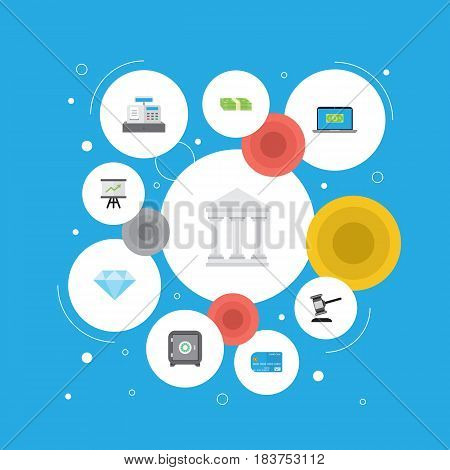 Flat Payment, Jewel Gem, Verdict And Other Vector Elements. Set Of Business Flat Symbols Also Includes Stack, Courthouse, Money Objects.