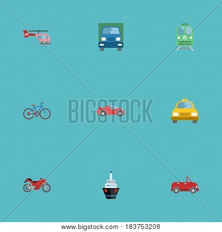 Flat Chopper, Truck, Metro And Other Vector Elements. Set Of Machine Flat Symbols Also Includes Passenger, Train, Air Objects.