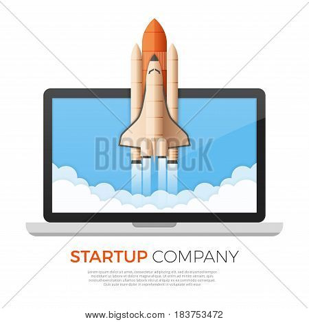 Business startup concept. Rocket or space shuttle launch. Vector illustration.