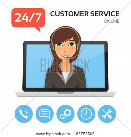 Customer service.Technical support call center concept with female operator on the laptop screen. Vector illustration.