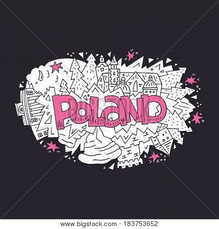 Poland vector illustration. Lettering and symbols of the country in a shape of an ellipse.