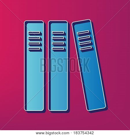 Row of binders, office folders icon. Vector. Blue 3d printed icon on magenta background.