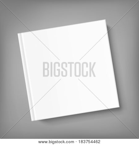 Mock up square cover book on grey background. Vector template for your design.