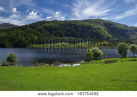 Beautiful Norwegian scenery of lake in the hills. Hjelmeland area Rogaland Norway.