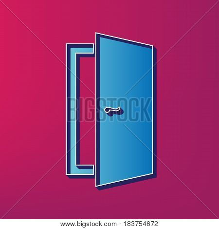 Door sign illustration. Vector. Blue 3d printed icon on magenta background.