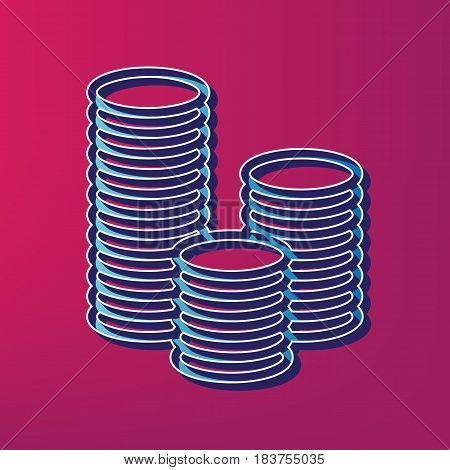 Money sign illustration. Vector. Blue 3d printed icon on magenta background.