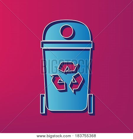 Trashcan sign illustration. Vector. Blue 3d printed icon on magenta background.