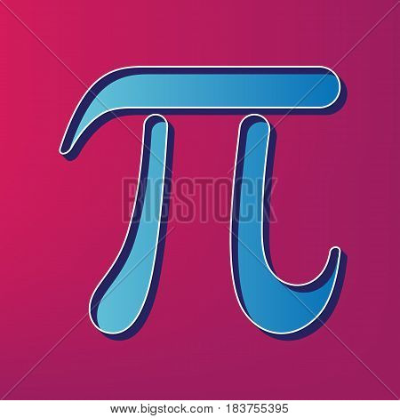 Pi greek letter sign. Vector. Blue 3d printed icon on magenta background.