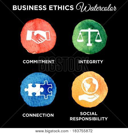 Business Ethics Icon Set Watercolor w Handshake