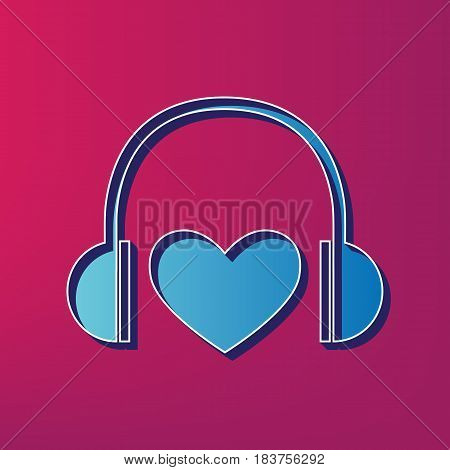 Headphones with heart. Vector. Blue 3d printed icon on magenta background.