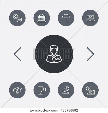Set Of 9 Budget Outline Icons Set.Collection Of Electron Payment, Internet Banking, Businessman And Other Elements.