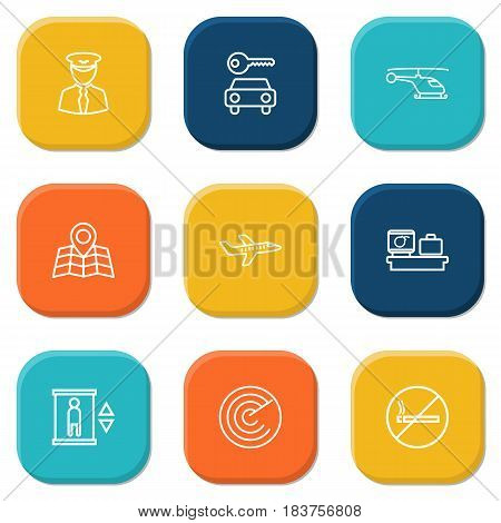 Set Of 9 Airplane Outline Icons Set.Collection Of Car Rent, Map, Plane And Other Elements.