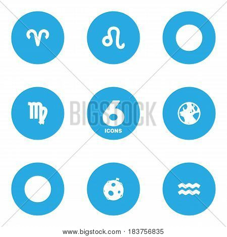 Set Of 6 Astrology Icons Set.Collection Of Ram, Earth Planet, Lunar And Other Elements.