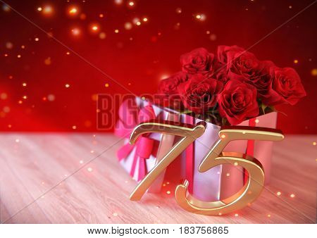 birthday concept with red roses in gift on wooden desk. 3D render - seventyfifth birthday. 75th