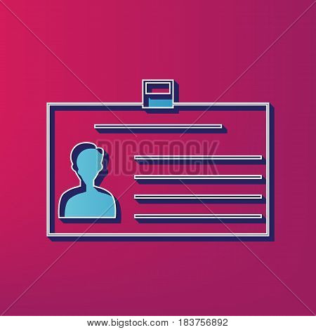 Identification card sign. Vector. Blue 3d printed icon on magenta background.