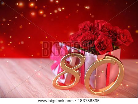 birthday concept with red roses in gift on wooden desk. 3D render - eightieth birthday. 80th