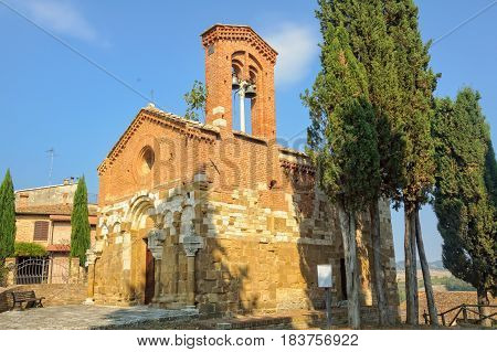 The church of San Pietro in Villore in the hamlet of San Giovanni d'Asso in Tuscany, Italy