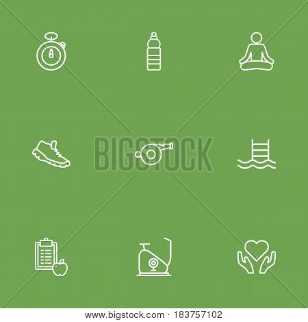Set Of 9 Bodybuilding Outline Icons Set.Collection Of Yoga, Trekking Shoes, Whistle And Other Elements.