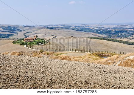 Autumn ploughed fields around a dirt road lined with cypress trees leading to a farm in Crete Senesi, Tuscany, Italy