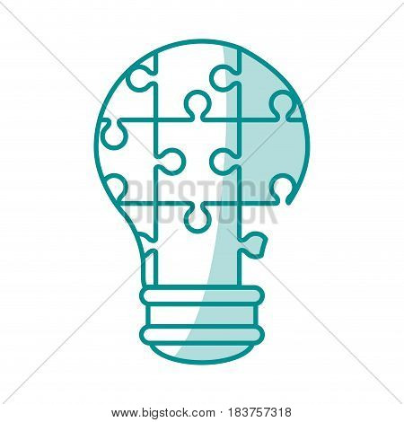 blue silhouette shading light bulb of pieces puzzle incomplete vector illustration