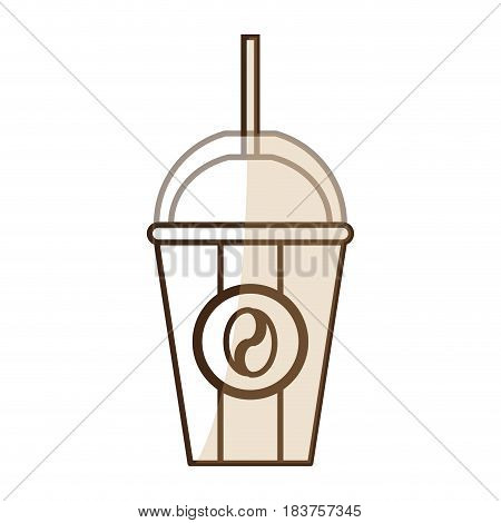 brown silhouette shading glass disposable of coffee with straw vector illustration