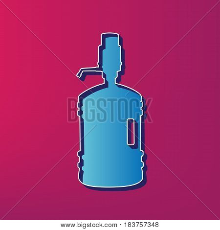 Plastic bottle silhouette with water and siphon. Vector. Blue 3d printed icon on magenta background.